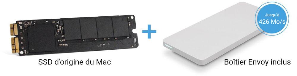 SSD origine Mac et boîtier OWC Envoy Pro