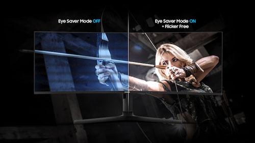 Samsung C49J890D technologies anti fatigue visuelle