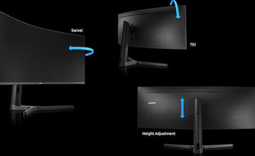 Samsung C49J890D réglages hauteur et pivot