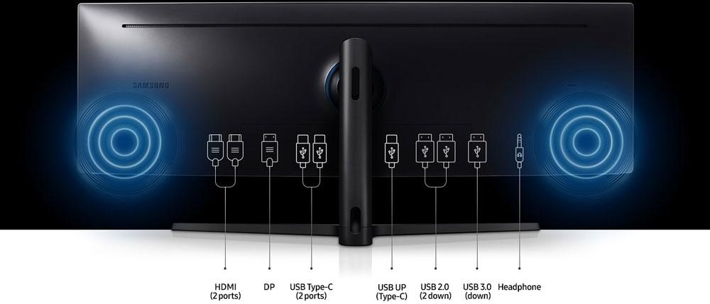 Samsung C49J890D ports entrées/sorties