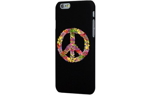 Aperçu 0: Coque noire iPhone 6 Impression motif Peace and love fleuri