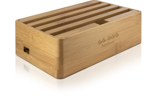 Aperçu 1: Novodio Ze Box Bamboo - Station de charge 6 ports USB pour iPhone / iPad