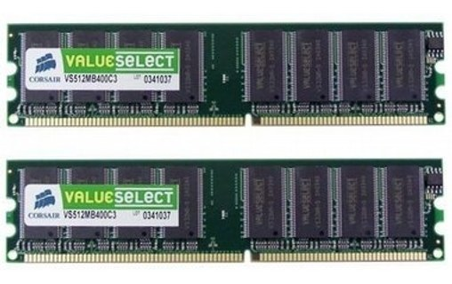 Aperçu 0: CORSAIR VALUE SELECT MÉMOIRE - 2 GO : 2 X 1 GO - DIMM 184 BROCHES - DD